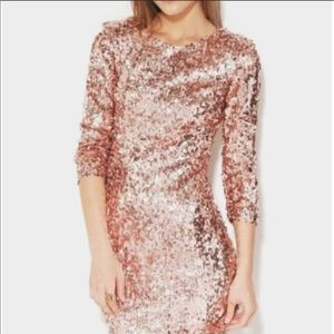 Pink sequin Bodycon mini dress long sleeves